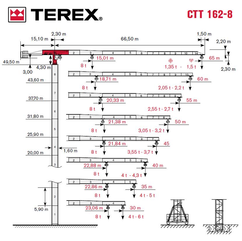 Башенный кран TEREX CTT 162-8